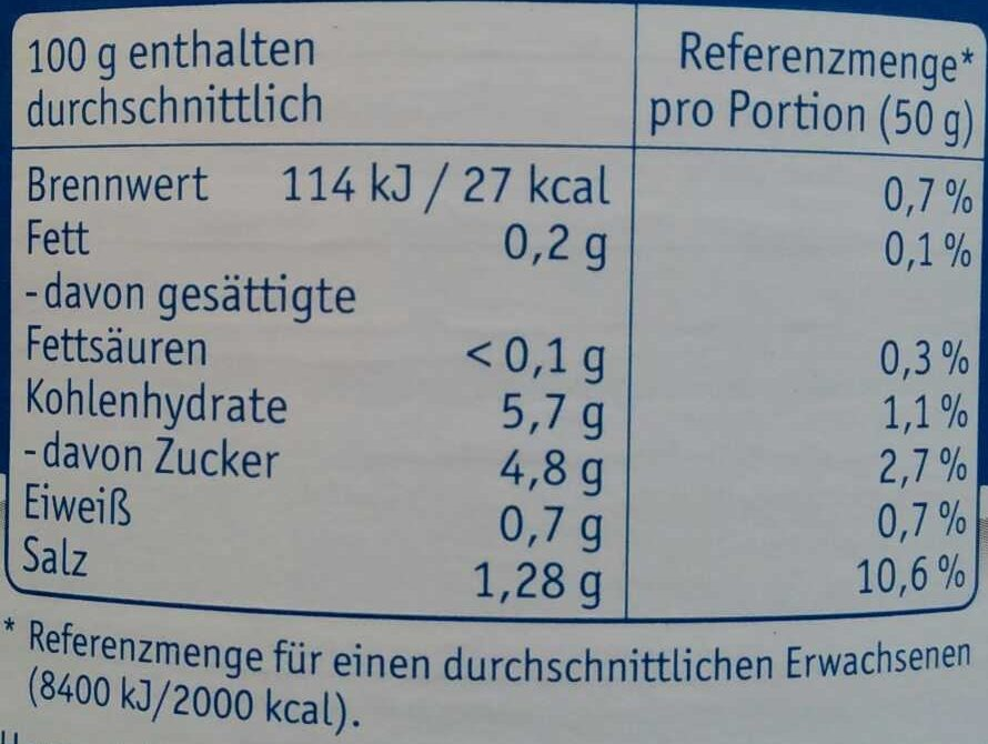 Selleriesalat - Informations nutritionnelles - de