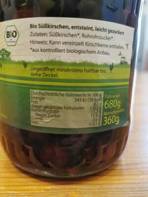 Bio Süßkirschen - Ingrediënten - de