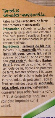 Tomaten-Mozzarella-Tortelli - Inhaltsstoffe