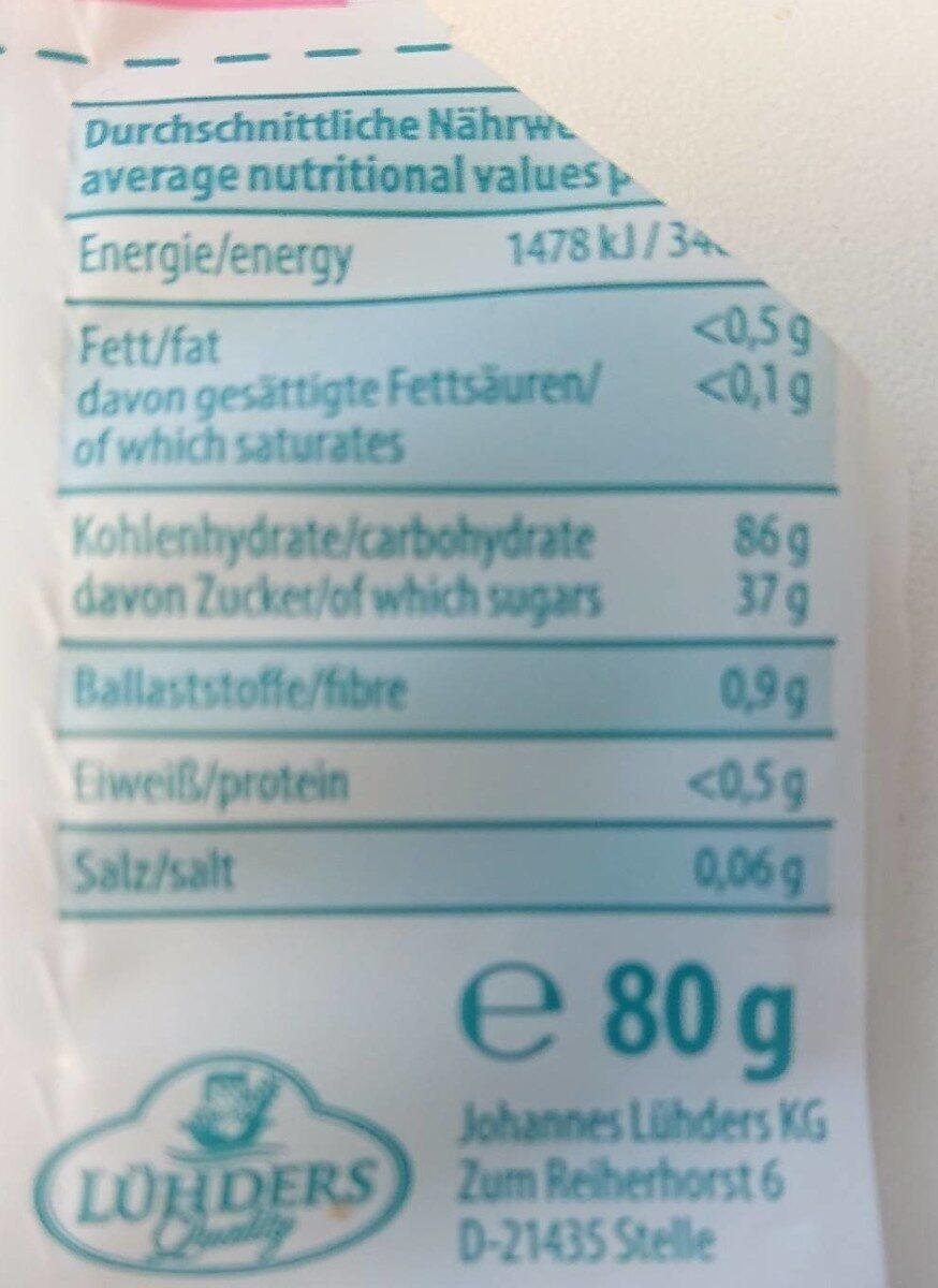 Fruchtgummi rote früchte - Voedingswaarden - fr