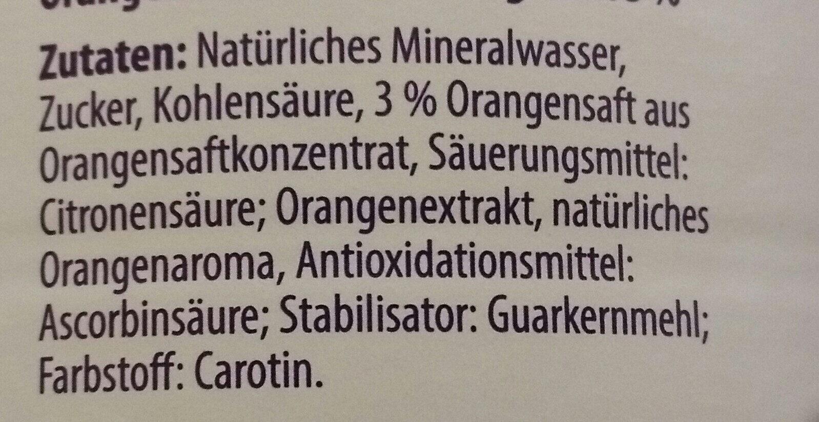 Orangemlimonade - Inhaltsstoffe