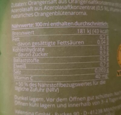 Mildes-Frühstück Orange - Informations nutritionnelles - de