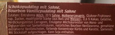 Dany Sahne Cremeduett, Schoko Vanille - Ingrédients