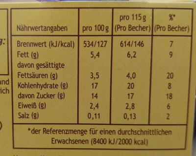 Dany Sahne Cremeduett, Schoko Vanille - Informations nutritionnelles