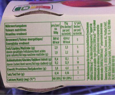 Yoghurt - Informazioni nutrizionali - fr