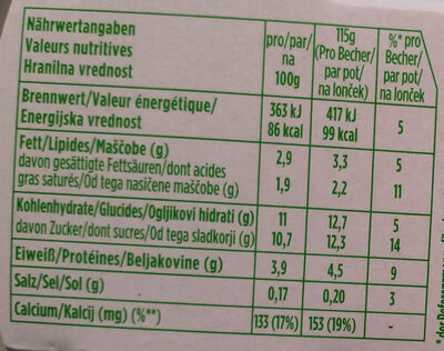 Activia Heidelbeere Myrtille - Nutrition facts - de