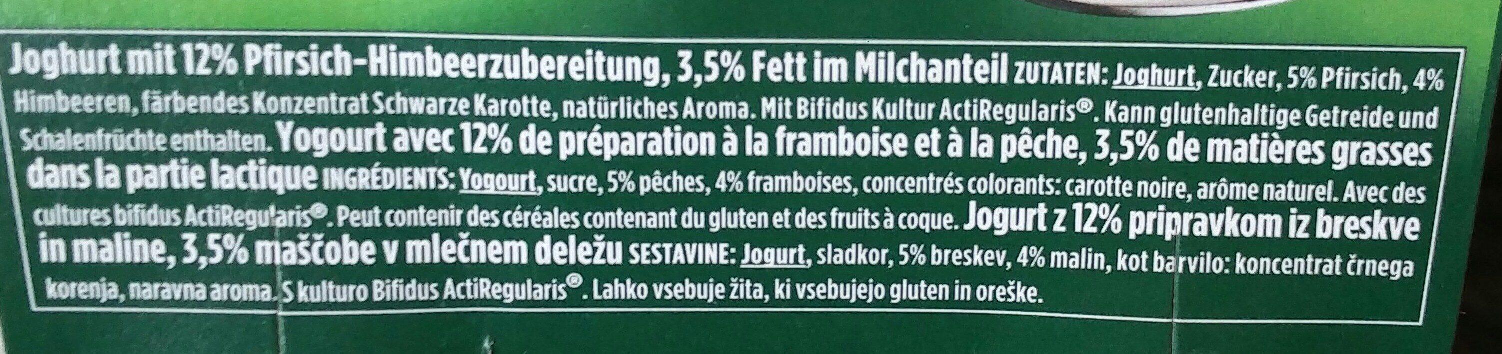 Activia Pfirsich & Himbeere - Ingrediënten