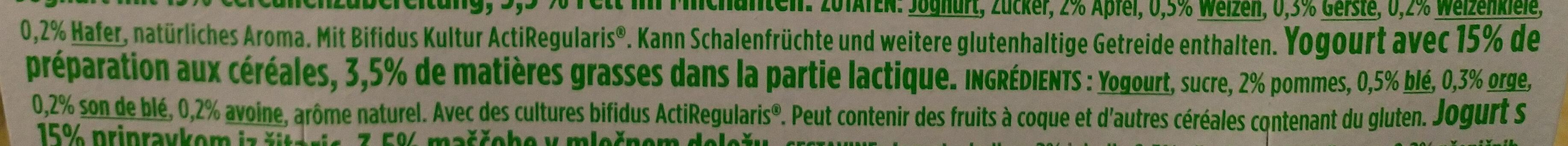 Yaourt activia céréales - Ingrédients - fr