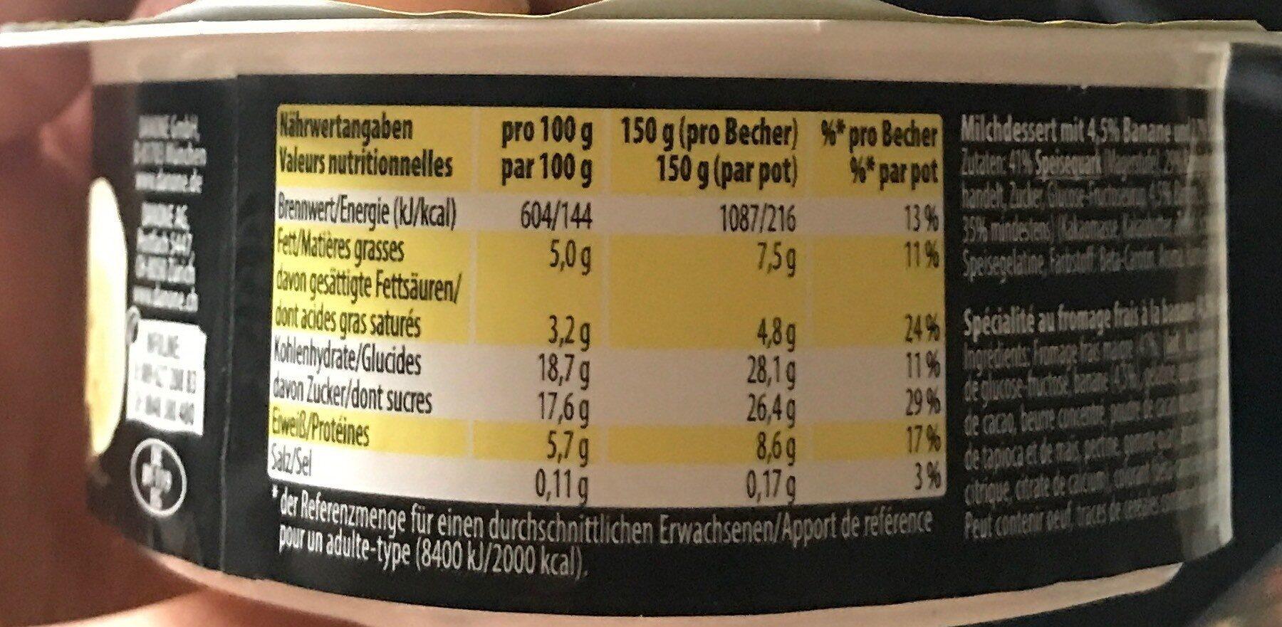 Choco banane - Voedigswaarden