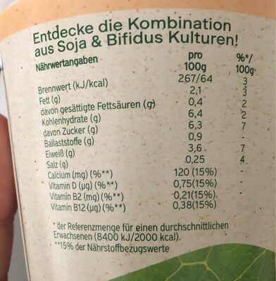 Activia 100% pflanzlich pfirsich - Nutrition facts - de