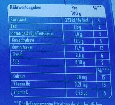 Milchmischerzeugnis mit Vitamin B6 und D. - Informations nutritionnelles