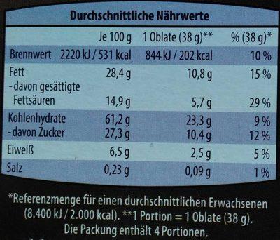 Schoko-Creme Oblaten - Nährwertangaben