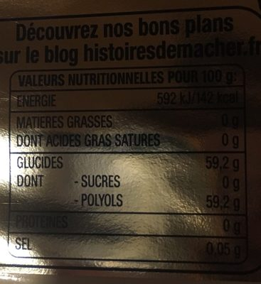 Freedent white - Nutrition facts - fr