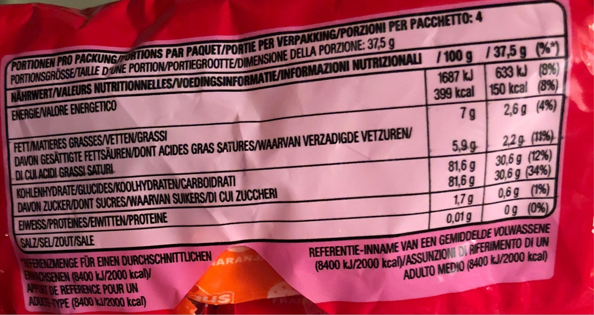 Classic - Nutrition facts