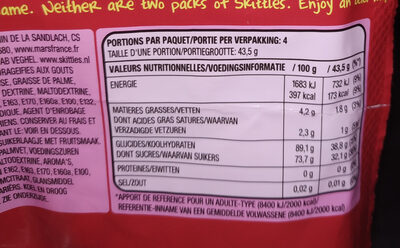 Skittles - Nutrition facts - fr