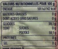 Chewing-gum sans sucres aux goûts menthol et menthe - Nutrition facts
