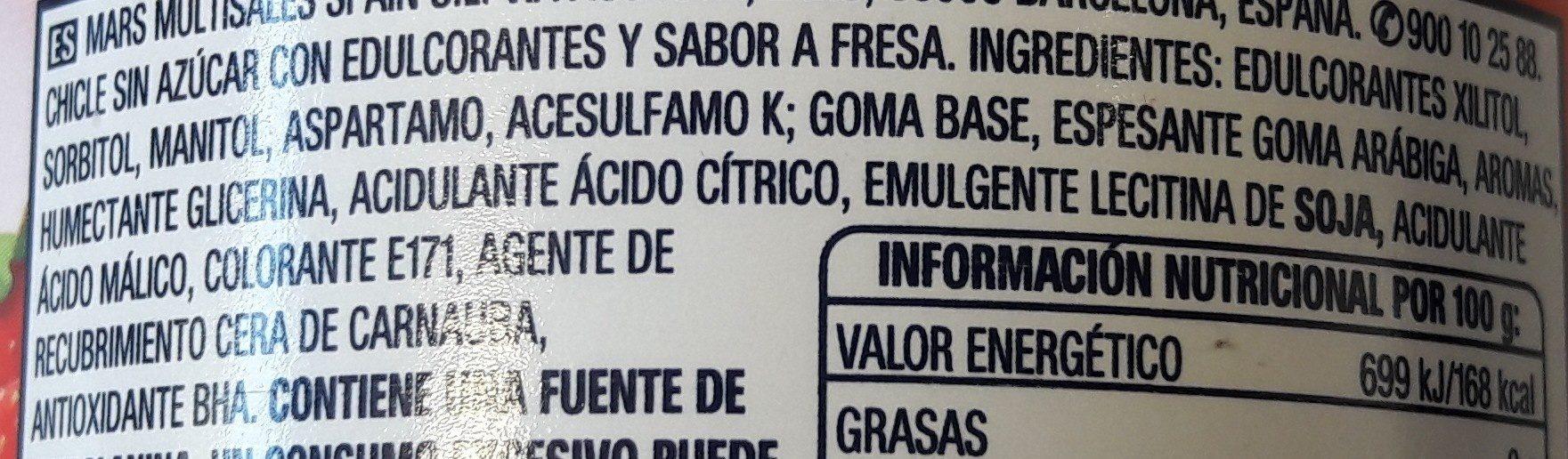 Chicles de fresa sin azúcar - Ingredients - es