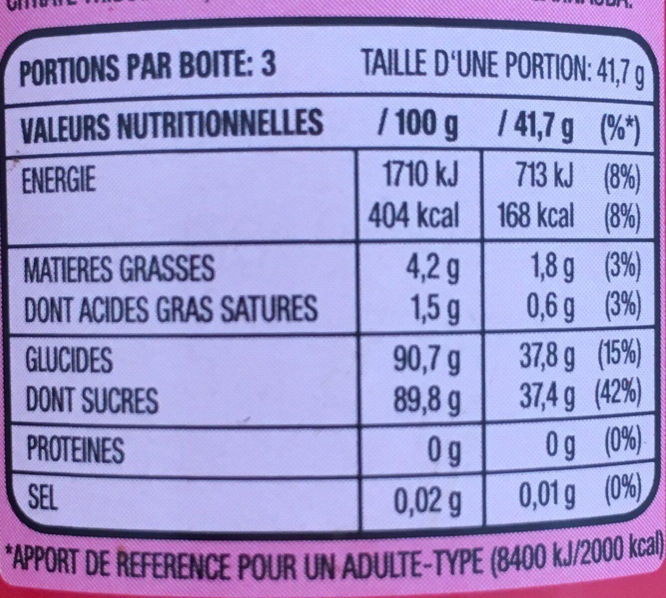 Skittles fruits - Informations nutritionnelles - fr