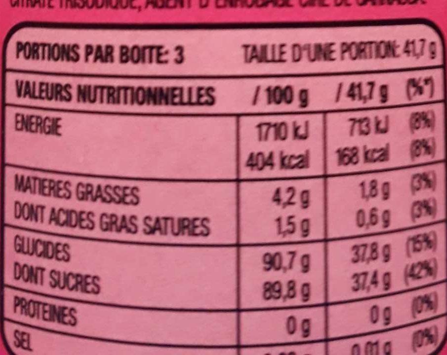 Skittles goût Tropical - Voedingswaarden