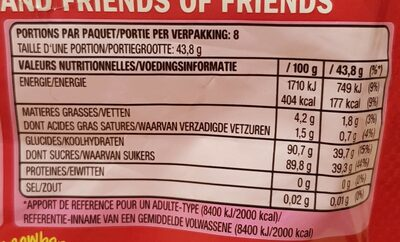 Skittles fruits - Nutrition facts - fr
