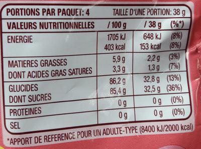 Skittles Chewies - Informació nutricional