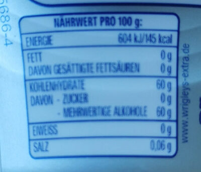 Extra Professional White - Informations nutritionnelles