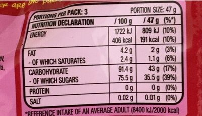 Skittles Giants - Nutrition facts - en