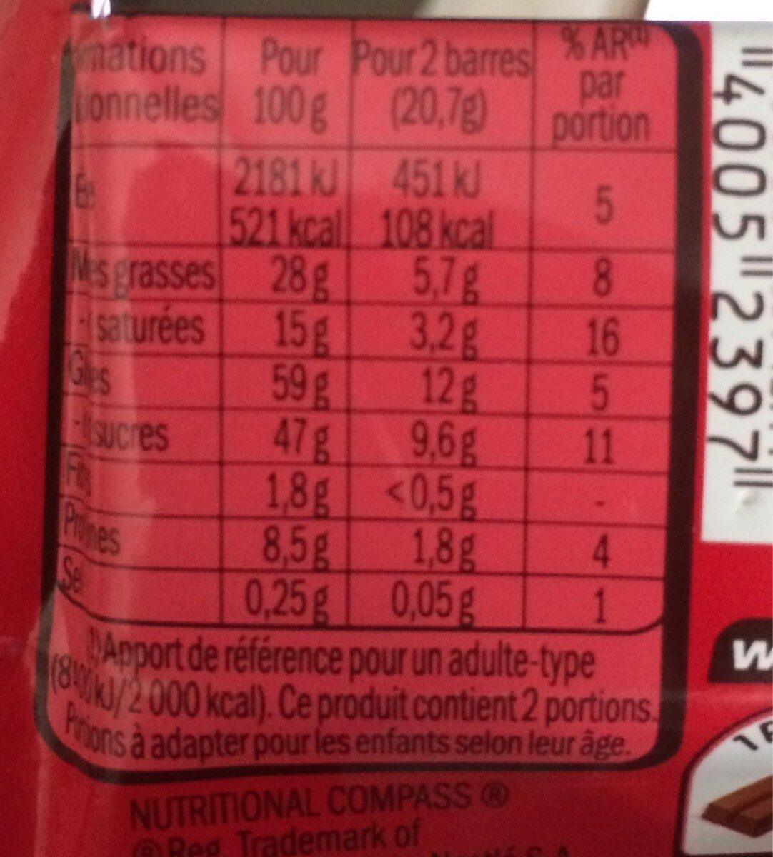 KITKAT barre chocolatée 41,5g - Información nutricional - fr