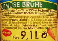 Gemüse Brühe - Ingredients