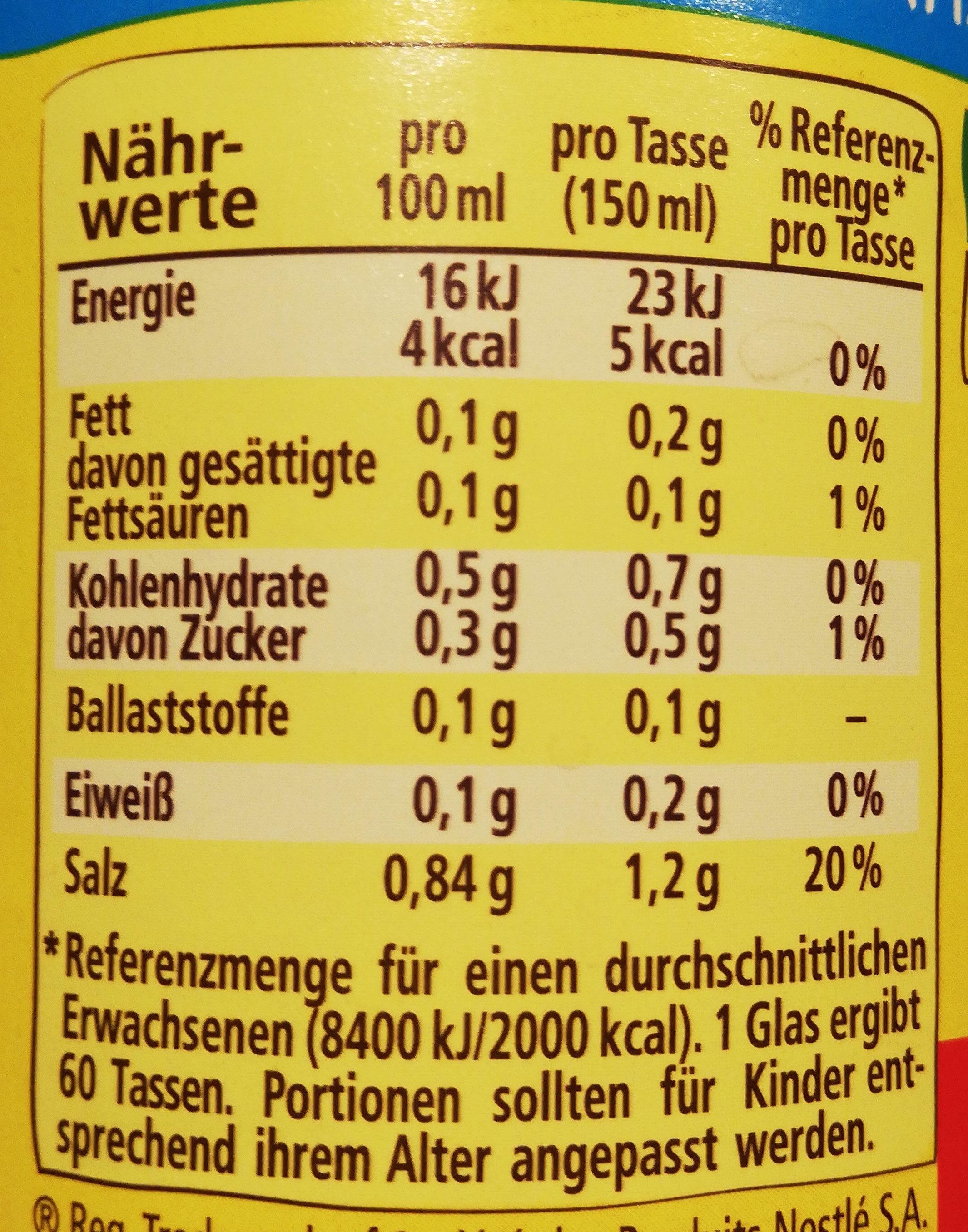 Gemüse Brühe - Nutrition facts