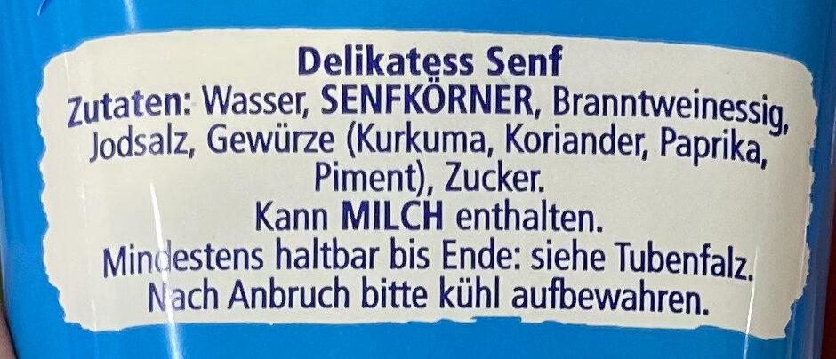 Mittelscharfer Delikatess Senf - Ingrediënten - de
