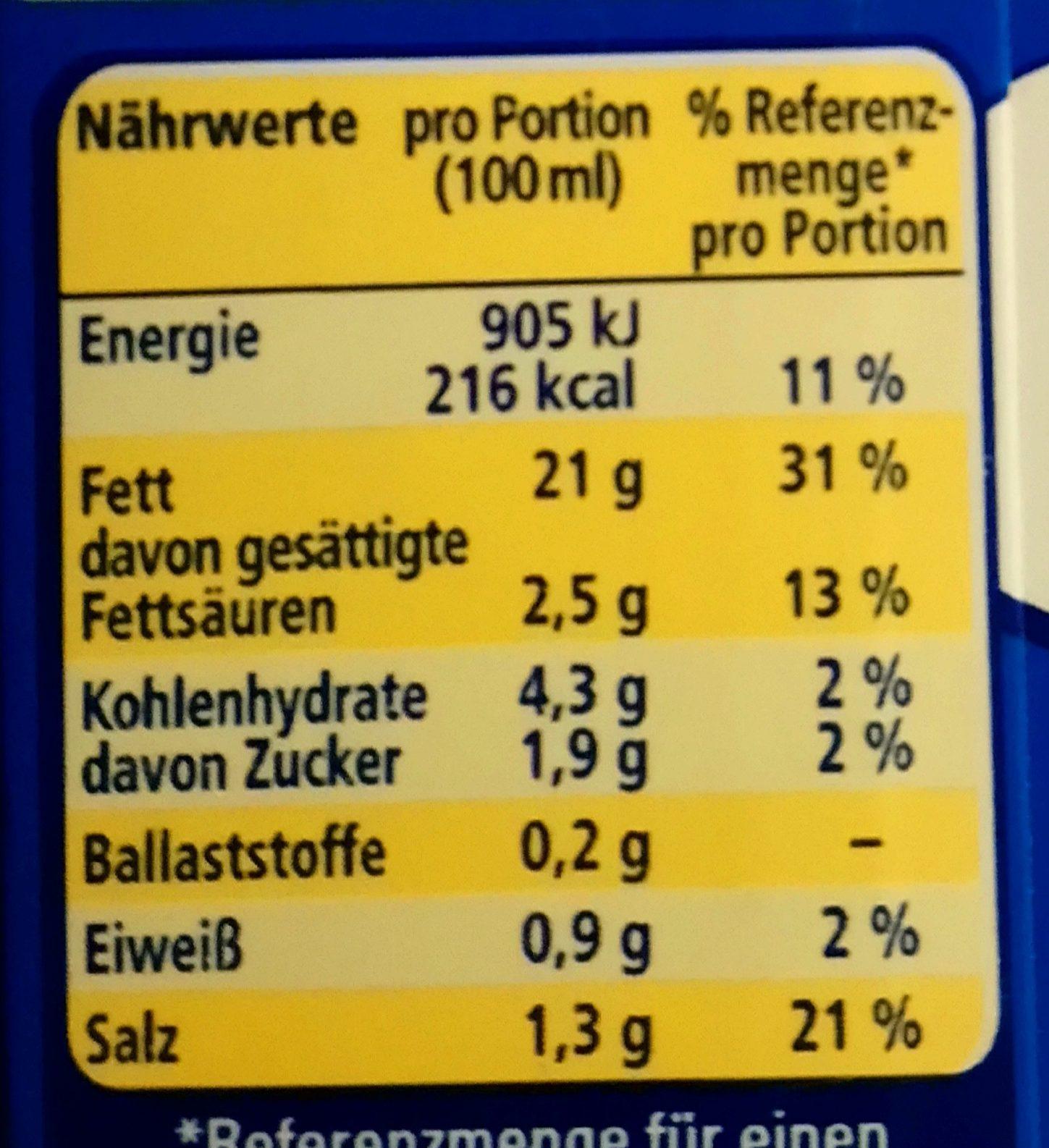 Hollandaise - Nutrition facts