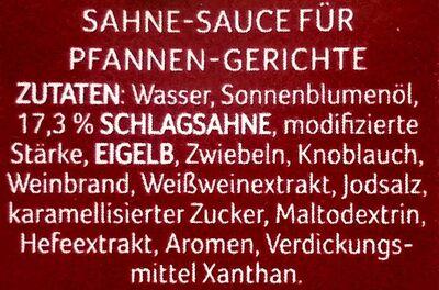 Pfannen Sahne-Sauce - Inhaltsstoffe