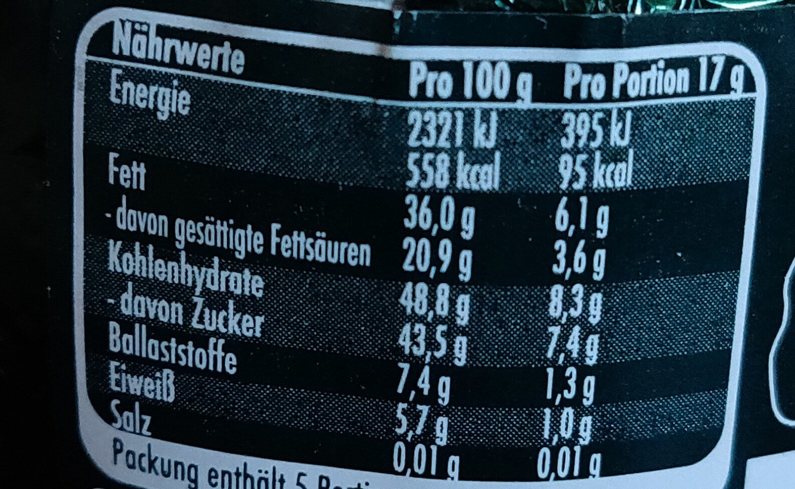After Eight Osterhase - Nutrition facts - de