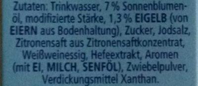 Thomy Hollandaise 8% Fett - Ingredients