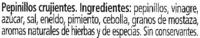 "Pepinillos encurtidos ""Knax"" crujientes - Ingrédients"