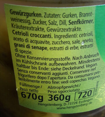 Essiggurken - Ingredients - de