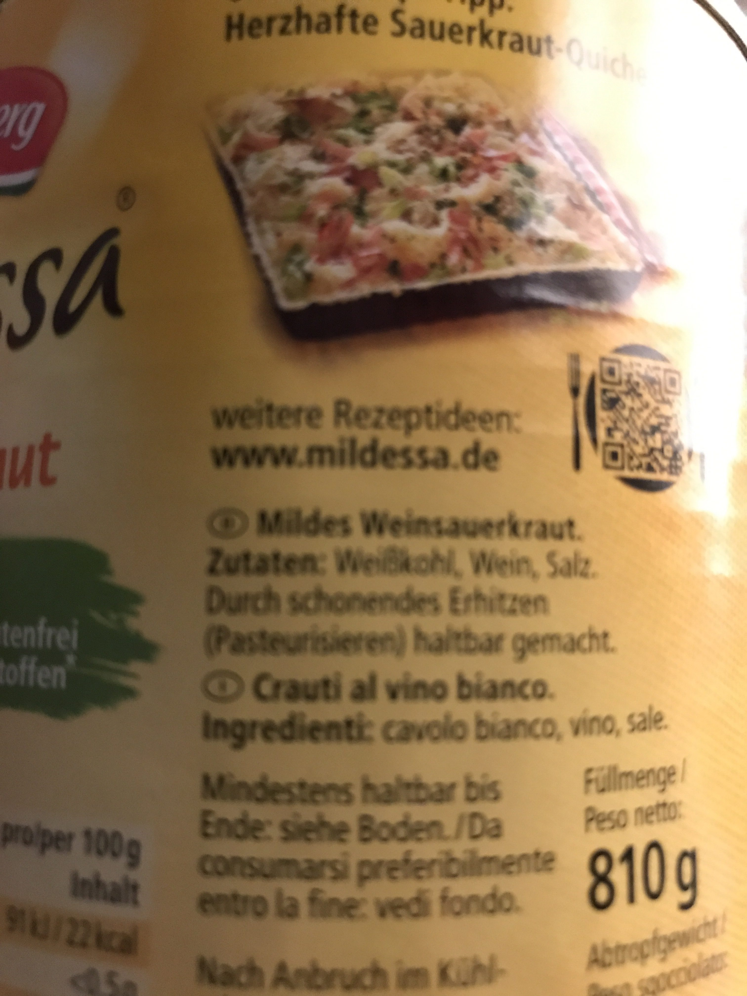 Mildessa Mildes Weinsauerkraut - Ingrediënten