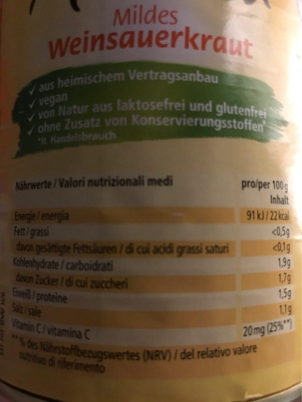 Mildessa Mildes Weinsauerkraut - Voedigswaarden