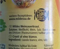 Sauerkraut, Mild - Zutaten - de