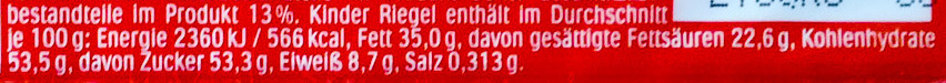 Kinder Riegel - Nutrition facts