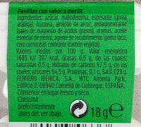 Tic Tac mint - Valori nutrizionali - fr