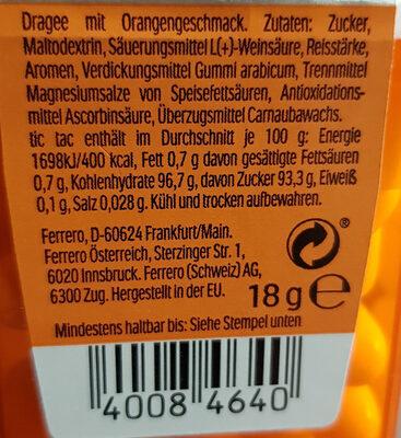 Tic tac orange - Zutaten