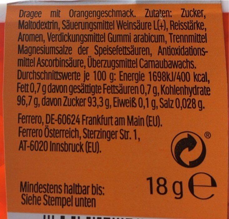 Tic tac orange - Nährwertangaben - de