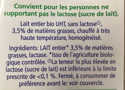 Lait entier bio - Ingredients - fr
