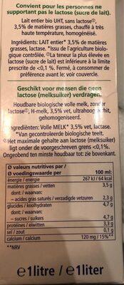 Haltbare bio-milch lactose-frei - Nutrition facts