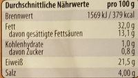 Edel-Salami mild geräuchert - Nutrition facts