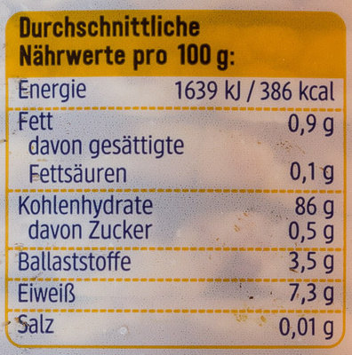 Mais Waffeln Natur - Nutrition facts