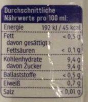 Orangen Saft - Voedingswaarden - de
