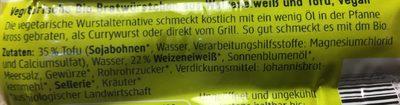 Bio Vegetarische Bratwürstchen - Ingredienti - fr